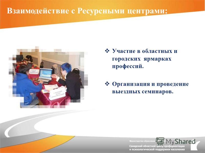 Взаимодействие с Ресурсными центрами: Участие в областных и городских ярмарках профессий. Организация и проведение выездных семинаров.