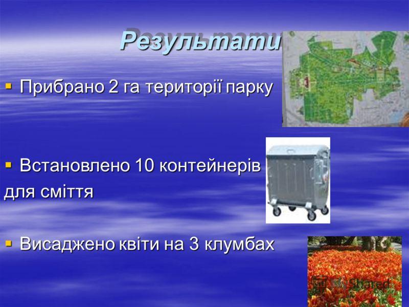 Результати:Результати: Прибрано 2 га території парку Прибрано 2 га території парку Встановлено 10 контейнерів Встановлено 10 контейнерів для сміття Висаджено квіти на 3 клумбах Висаджено квіти на 3 клумбах