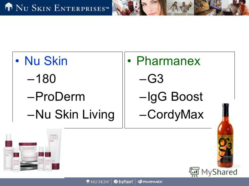 Nu Skin –180 –ProDerm –Nu Skin Living Pharmanex –G3 –IgG Boost –CordyMax