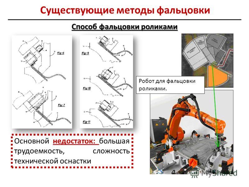 Способ фальцовки роликами Робот для фальцовки роликами. Основной недостаток: большая трудоемкость, сложность технической оснастки Существующие методы фальцовки