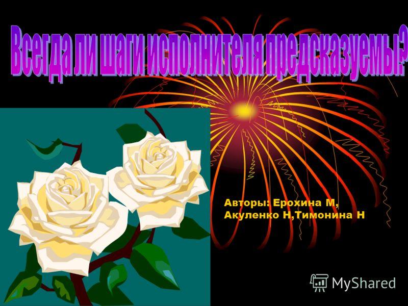 Авторы: Ерохина М, Акуленко Н,Тимонина Н