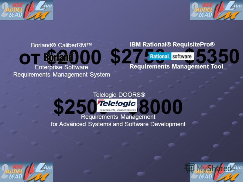 $2750 - $5350 от $2000 $2500 - $8000 Borland® CaliberRM Enterprise Software Requirements Management System IBM Rational® RequisitePro® Requirements Management Tool Telelogic DOORS® Requirements Management for Advanced Systems and Software Development
