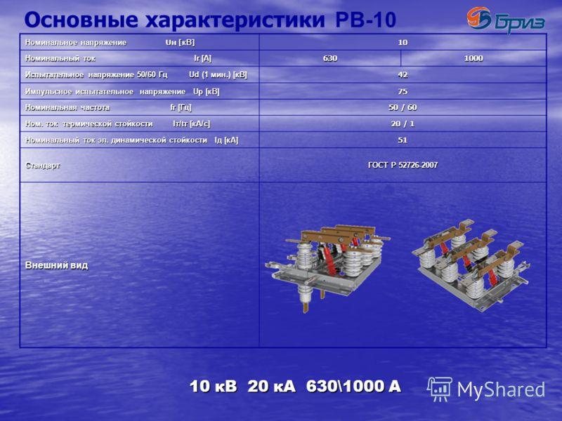 Номинальные характеристики Высоковольтных разъединителей РВ-10 «БРИЗ» «БРИЗ» РВЗ-10 10 кВ 20 кА 630/1000 A РВФЗ-10