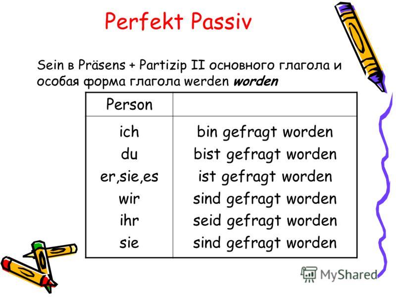 Perfekt Passiv Sein в Präsens + Partizip II основного глагола и особая форма глагола werden worden Person ich du er,sie,es wir ihr sie bin gefragt worden bist gefragt worden ist gefragt worden sind gefragt worden seid gefragt worden sind gefragt word