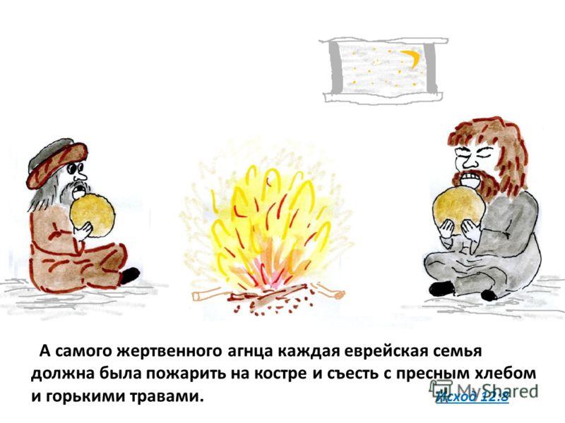 А самого жертвенного агнца каждая еврейская семья должна была пожарить на костре и съесть с пресным хлебом и горькими травами. Исход 12:8