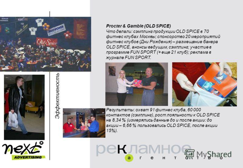 Эффективность Procter & Gamble (OLD SPICE) Что делали: сэмплинг продукции OLD SPICE в 70 фитнес клубах Москвы; спонсорство 20 мероприятий фитнес клубов (Дни Рождения) – размещение банера OLD SPICE, анонсы ведущим, сэмплинг; участие в программе FUN SP