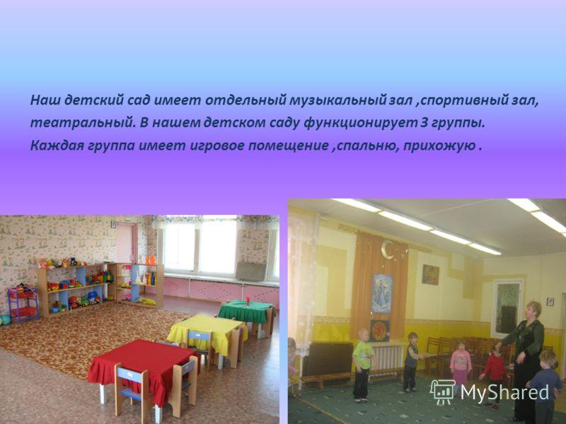 Наш детский сад имеет отдельный музыкальный зал,спортивный зал, театральный. В нашем детском саду функционирует 3 группы. Каждая группа имеет игровое помещение,спальню, прихожую.