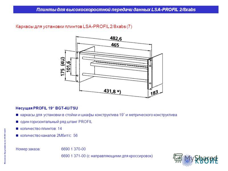 Московское Представительство KRONE GmbH Плинты для высокоскоростной передачи данных LSA-PROFIL 2/8xabs Каркасы для установки плинтов LSA-PROFIL 2/8xabs (7) Несущая PROFIL 19 BGT-4U/7SU каркасы для установки в стойки и шкафы конструктива 19 и метричес