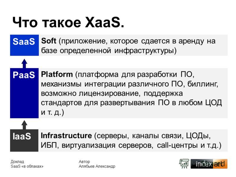 Что такое XaaS. SaaS Soft (приложение, которое сдается в аренду на базе определенной инфраструктуры) Доклад SaaS «в облаках» Автор Алябьев Александр IaaS Infrastructure (серверы, каналы связи, ЦОДы, ИБП, виртуализация серверов, call-центры и т.д.) Pa