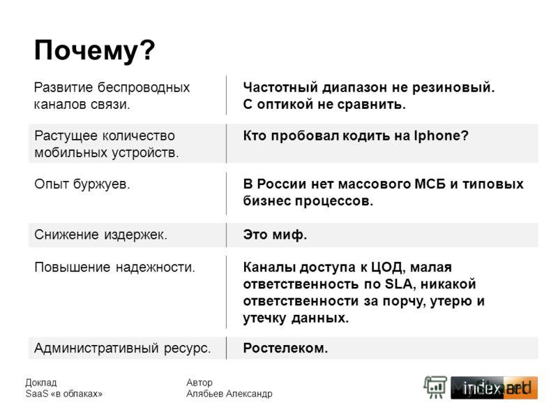 Автор Алябьев Александр Доклад SaaS «в облаках» Почему? Растущее количество мобильных устройств. Кто пробовал кодить на Iphone? Развитие беспроводных каналов связи. Частотный диапазон не резиновый. С оптикой не сравнить. Опыт буржуев.В России нет мас