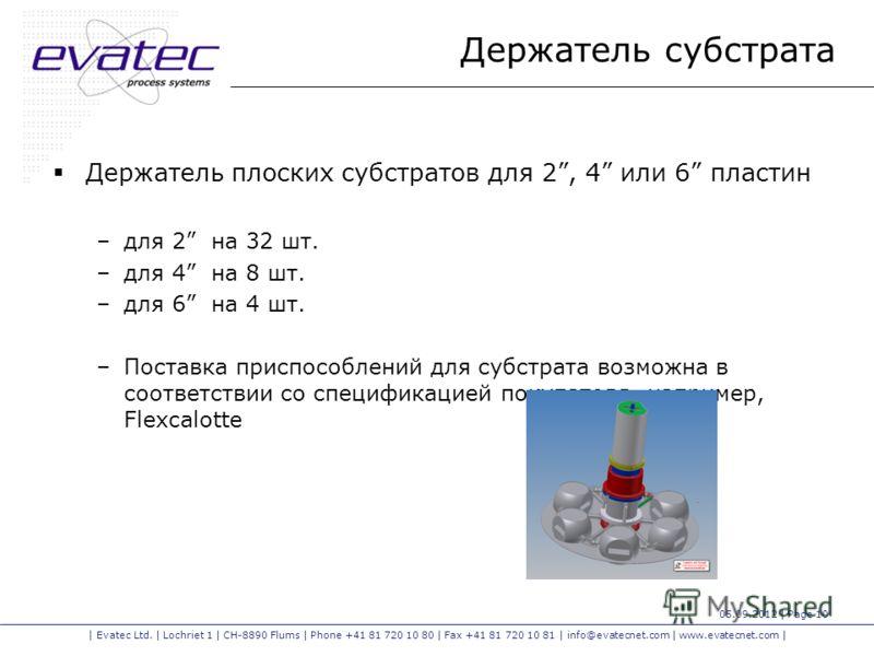 | Evatec Ltd. | Lochriet 1 | CH-8890 Flums | Phone +41 81 720 10 80 | Fax +41 81 720 10 81 | info@evatecnet.com | www.evatecnet.com | 05.09.2012 | Page 10 Держатель субстрата Держатель плоских субстратов для 2, 4 или 6 пластин –для 2 на 32 шт. –для 4