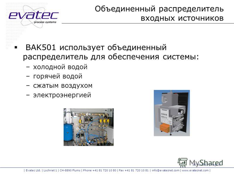 | Evatec Ltd. | Lochriet 1 | CH-8890 Flums | Phone +41 81 720 10 80 | Fax +41 81 720 10 81 | info@evatecnet.com | www.evatecnet.com | 05.09.2012 | Page 6 Объединенный распределитель входных источников BAK501 использует объединенный распределитель для