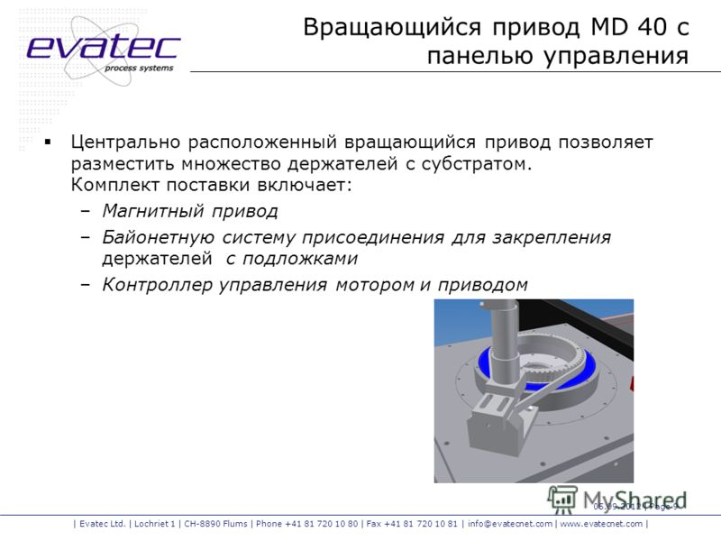 | Evatec Ltd. | Lochriet 1 | CH-8890 Flums | Phone +41 81 720 10 80 | Fax +41 81 720 10 81 | info@evatecnet.com | www.evatecnet.com | 05.09.2012 | Page 9 Вращающийся привод MD 40 с панелью управления Центрально расположенный вращающийся привод позвол