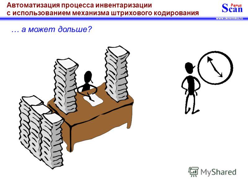 S can Parus www.oknemika.ru Автоматизация процесса инвентаризации с использованием механизма штрихового кодирования Инвентаризацию у Вас проводит один сотрудник за 1 день???