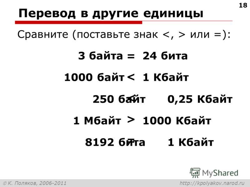 К. Поляков, 2006-2011 http://kpolyakov.narod.ru Перевод в другие единицы Сравните (поставьте знак или =): 3 байта24 бита 1000 байт 1 Кбайт 250 байт0,25 Кбайт 1 Мбайт1000 Кбайт 8192 бита1 Кбайт = < < > = 18