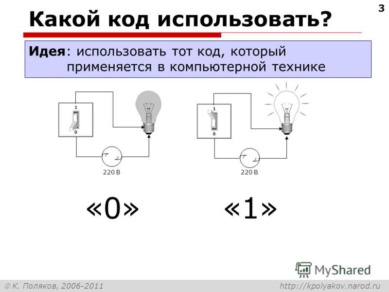 К. Поляков, 2006-2011 http://kpolyakov.narod.ru 3 Какой код использовать? Идея: использовать тот код, который применяется в компьютерной технике 220 В «0»«1»«1»