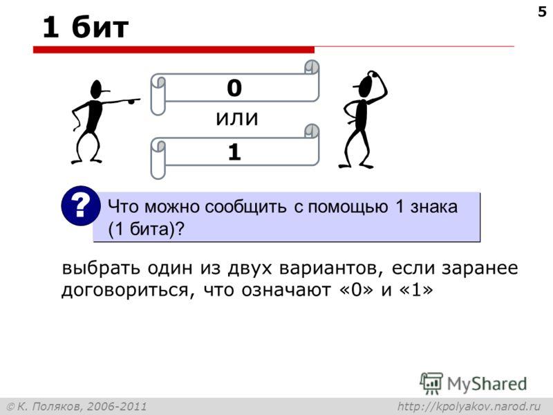 К. Поляков, 2006-2011 http://kpolyakov.narod.ru 1 бит 5 или 01 Что можно сообщить с помощью 1 знака (1 бита)? ? выбрать один из двух вариантов, если заранее договориться, что означают «0» и «1»
