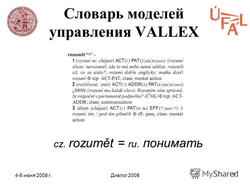 4-8 июня 2008 г.Диалог 20087 Словарь моделей управления VALLEX cz. rozumět = ru. понимать