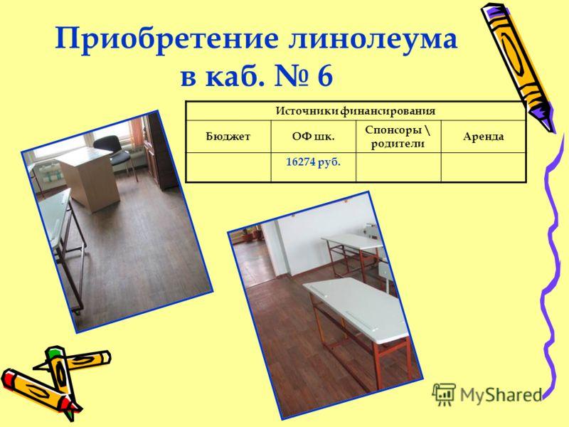 Приобретение линолеума в каб. 6 Источники финансирования БюджетОФ шк. Спонсоры \ родители Аренда 16274 руб.