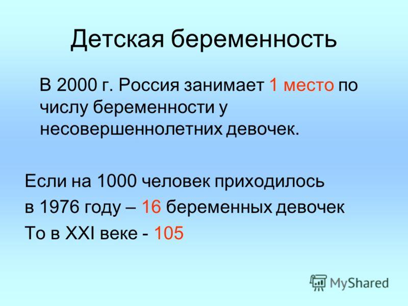Детская беременность В 2000 г. Россия занимает 1 место по числу беременности у несовершеннолетних девочек. Если на 1000 человек приходилось в 1976 году – 16 беременных девочек То в XXI веке - 105