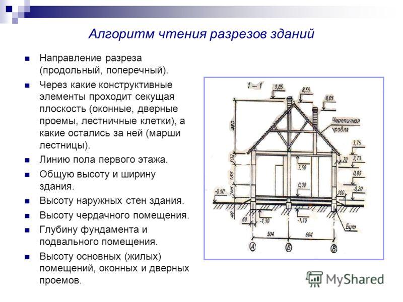 Алгоритм чтения разрезов зданий Направление разреза (продольный, поперечный). Через какие конструктивные элементы проходит секущая плоскость (оконные, дверные проемы, лестничные клетки), а какие остались за ней (марши лестницы). Линию пола первого эт