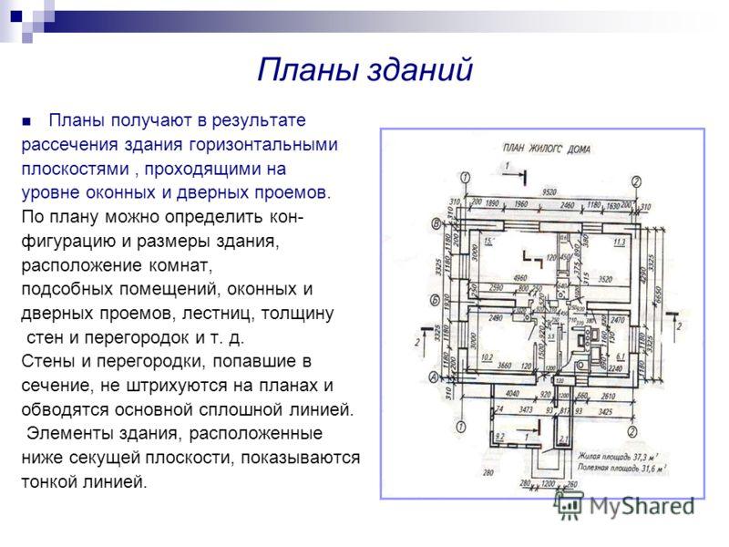 Планы зданий Планы получают в результате рассечения здания горизонтальными плоскостями, проходящими на уровне оконных и дверных проемов. По плану можно определить кон- фигурацию и размеры здания, расположение комнат, подсобных помещений, оконных и дв