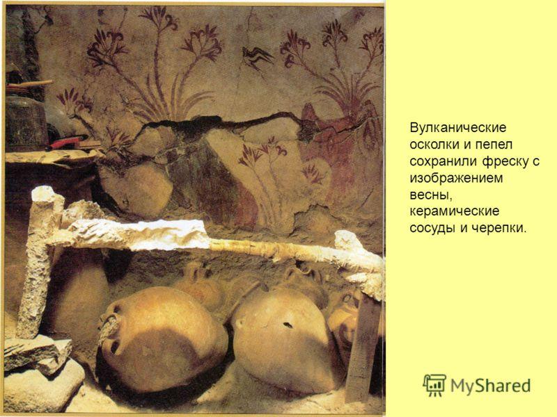 Вулканические осколки и пепел сохранили фреску с изображением весны, керамические сосуды и черепки.