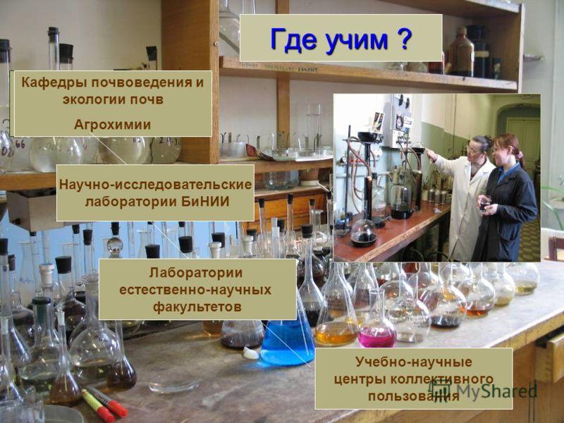 Где учим ? Кафедры почвоведения и экологии почв Агрохимии Научно-исследовательские лаборатории БиНИИ Лаборатории естественно-научных факультетов Учебно-научные центры коллективного пользования