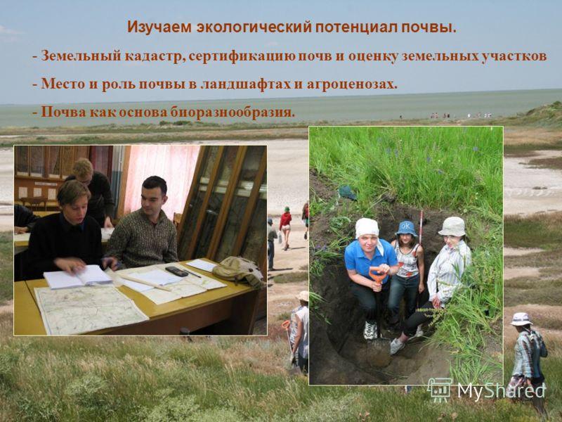 Изучаем экологический потенциал почвы. - Земельный кадастр, сертификацию почв и оценку земельных участков - Место и роль почвы в ландшафтах и агроценозах. - Почва как основа биоразнообразия.
