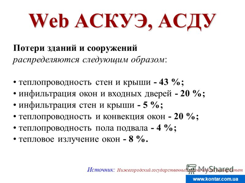 www.kontar.com.ua Web АСКУЭ, АСДУ Потери зданий и сооружений распределяются следующим образом: теплопроводность стен и крыши - 43 %; инфильтрация окон и входных дверей - 20 %; инфильтрация стен и крыши - 5 %; теплопроводность и конвекция окон - 20 %;