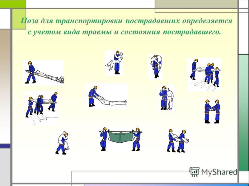 Поза для транспортировки пострадавших определяется с учетом вида травмы и состояния пострадавшего.