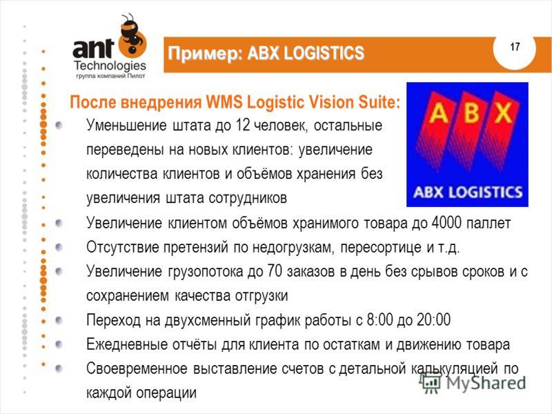17 Пример : ABX LOGISTICS Уменьшение штата до 12 человек, остальные переведены на новых клиентов: увеличение количества клиентов и объёмов хранения без увеличения штата сотрудников После внедрения WMS Logistic Vision Suite: Увеличение клиентом объёмо