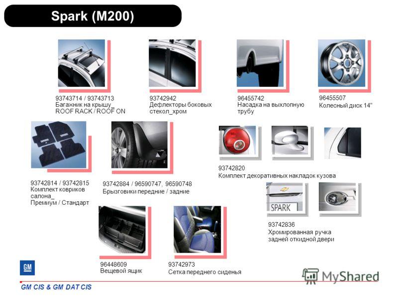 GM CIS & GM DAT CIS Spark (M200) 96455742 Насадка на выхлопную трубу 93742942 Дефлекторы боковых стекол_хром 93742814 / 93742815 Комплект ковриков салона_ Премиум / Стандарт 93743714 / 93743713 Багажник на крышу_ ROOF RACK / ROOF ON 93742884 / 965907