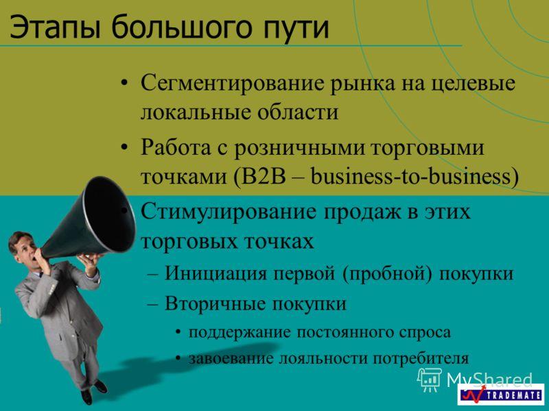 Этапы большого пути Сегментирование рынка на целевые локальные области Работа с розничными торговыми точками (B2B – business-to-business) Стимулирование продаж в этих торговых точках –Инициация первой (пробной) покупки –Вторичные покупки поддержание