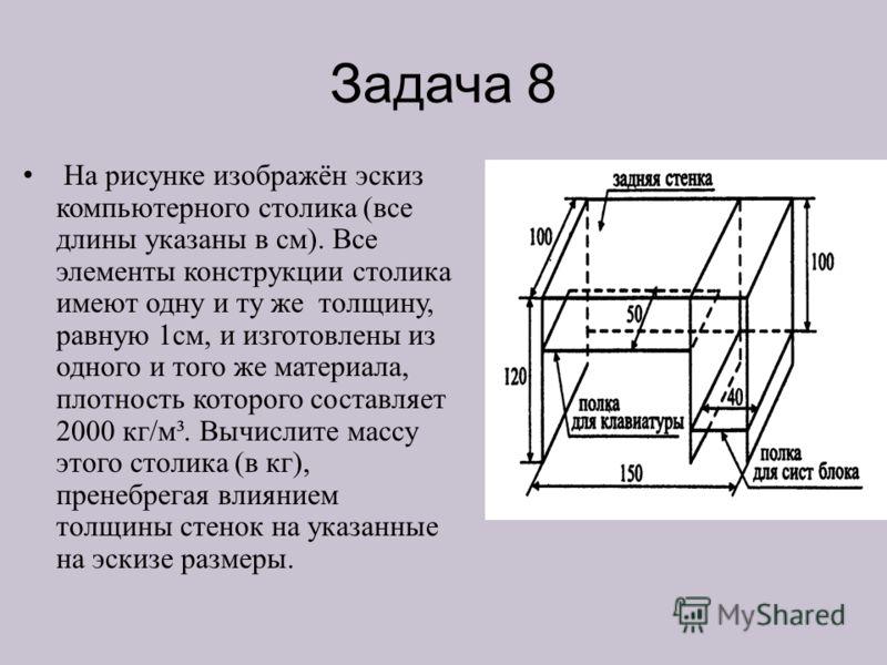 Задача 8 На рисунке изображён эскиз компьютерного столика (все длины указаны в см). Все элементы конструкции столика имеют одну и ту же толщину, равную 1см, и изготовлены из одного и того же материала, плотность которого составляет 2000 кг/м³. Вычисл