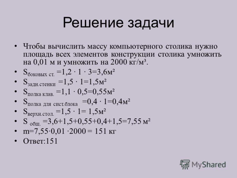 Решение задачи Чтобы вычислить массу компьютерного столика нужно площадь всех элементов конструкции столика умножить на 0,01 м и умножить на 2000 кг/м³. S боковых ст. =1,2 1 3=3,6м² S задн.стенки =1,5 1=1,5м² S полка клав. =1,1 0,5=0,55м² S полка для