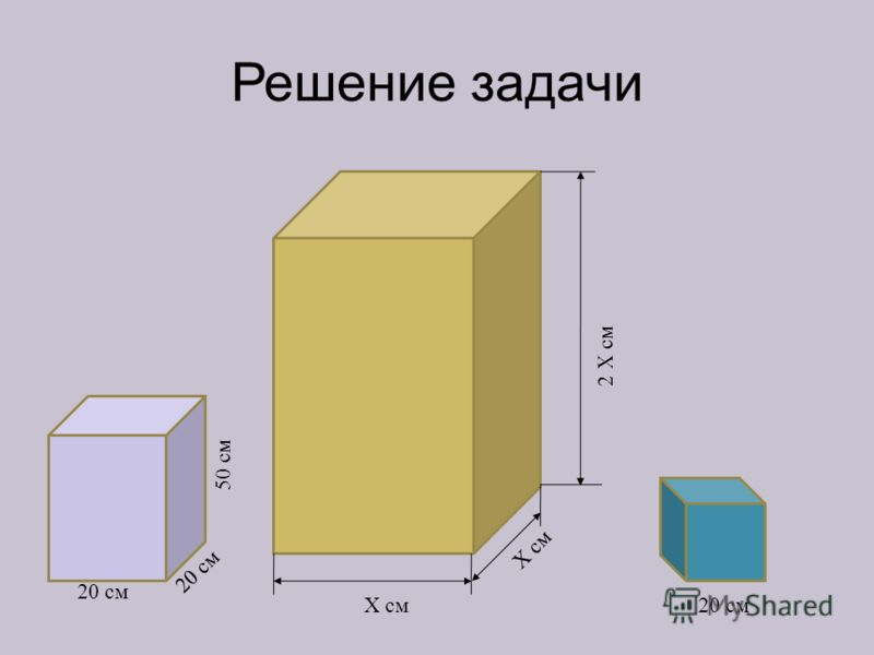 Решение задачи Х см 2 Х см 20 см 50 см 20 см