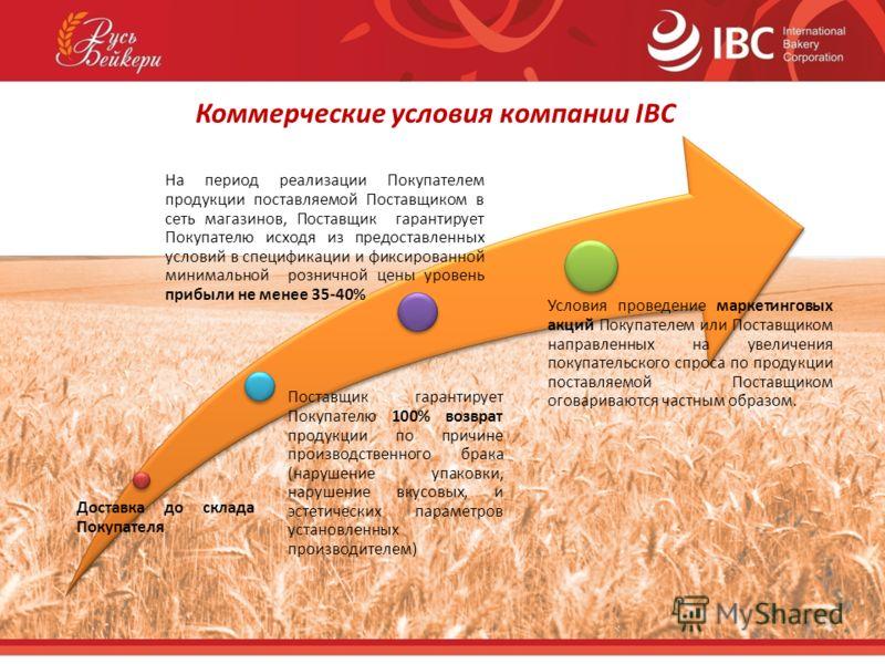 Коммерческие условия компании IBC На период реализации Покупателем продукции поставляемой Поставщиком в сеть магазинов, Поставщик гарантирует Покупателю исходя из предоставленных условий в спецификации и фиксированной минимальной розничной цены урове