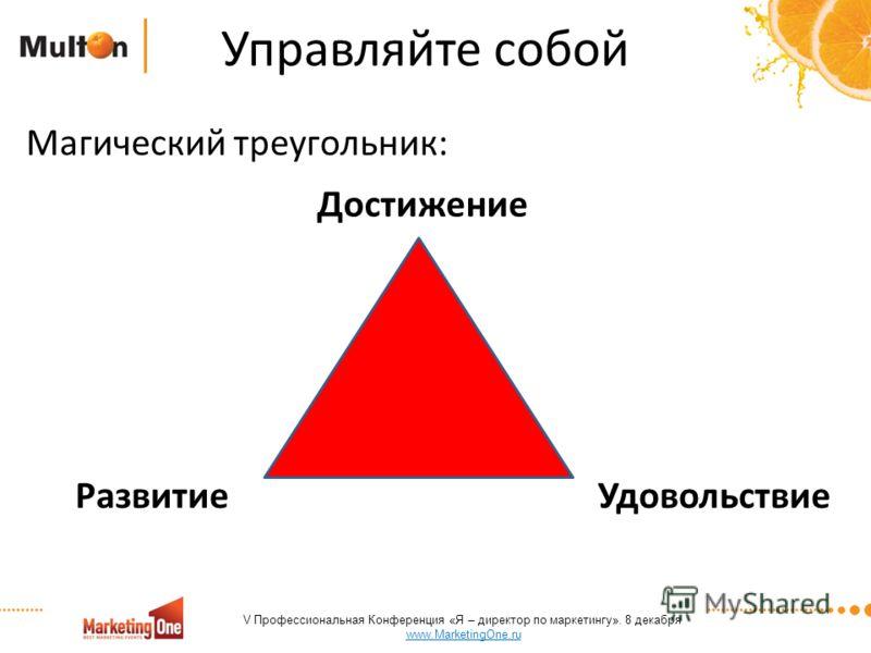 Управляйте собой Магический треугольник: Достижение Развитие Удовольствие V Профессиональная Конференция «Я – директор по маркетингу». 8 декабря www.MarketingOne.ru