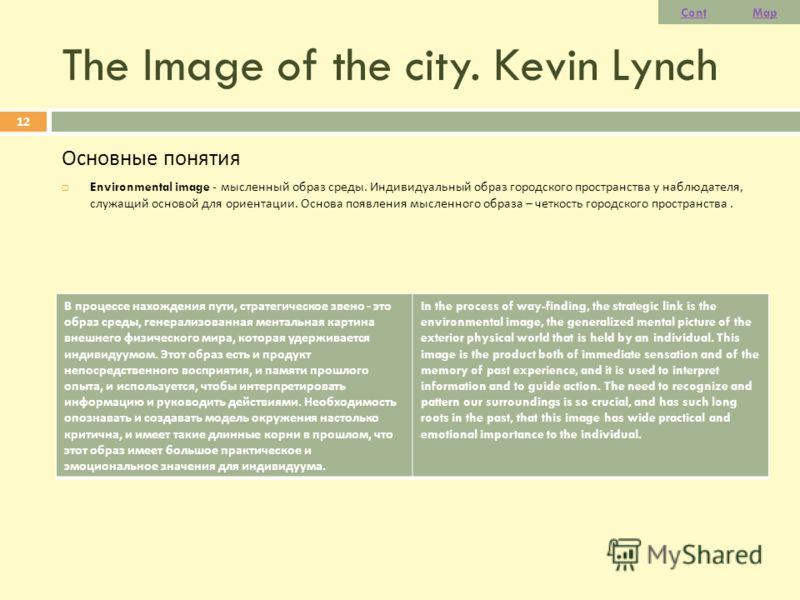 The Image of the city. Kevin Lynch Основные понятия Environmental image - мысленный образ среды. Индивидуальный образ городского пространства у наблюдателя, служащий основой для ориентации. Основа появления мысленного образа – четкость городского про