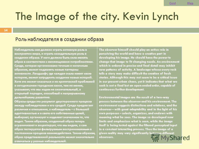 The Image of the city. Kevin Lynch Роль наблюдателя в создании образа 14 Наблюдатель сам должен играть активную роль в восприятии мира, и играть созидательную роль в создании образа. У него должна быть сила менять образ в соответствии с меняющимися п