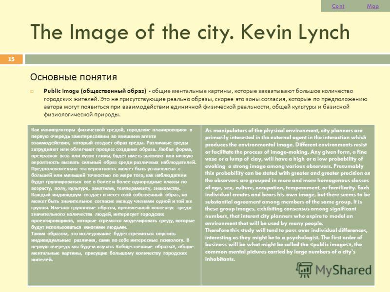 The Image of the city. Kevin Lynch Основные понятия Public image ( общественный образ ) - общие ментальные картины, которые захватывают большое количество городских жителей. Это не присутствующие реально образы, скорее это зоны согласия, которые по п
