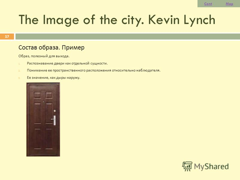 The Image of the city. Kevin Lynch Состав образа. Пример Образ, полезный для выхода. 1. Распознавание двери как отдельной сущности. 2. Понимание ее пространственного расположения относительно наблюдателя. 3. Ее значение, как дыры наружу. 17 ContMap