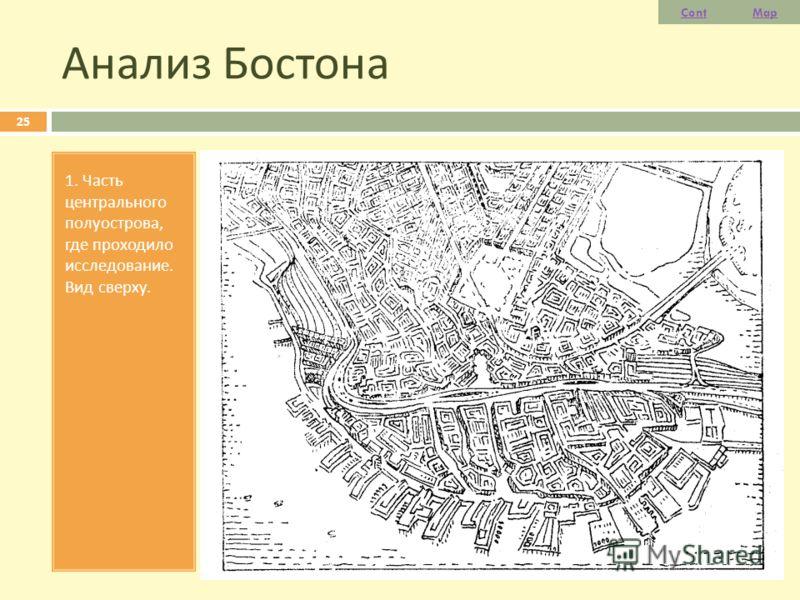 Анализ Бостона 25 1. Часть центрального полуострова, где проходило исследование. Вид сверху. ContMap