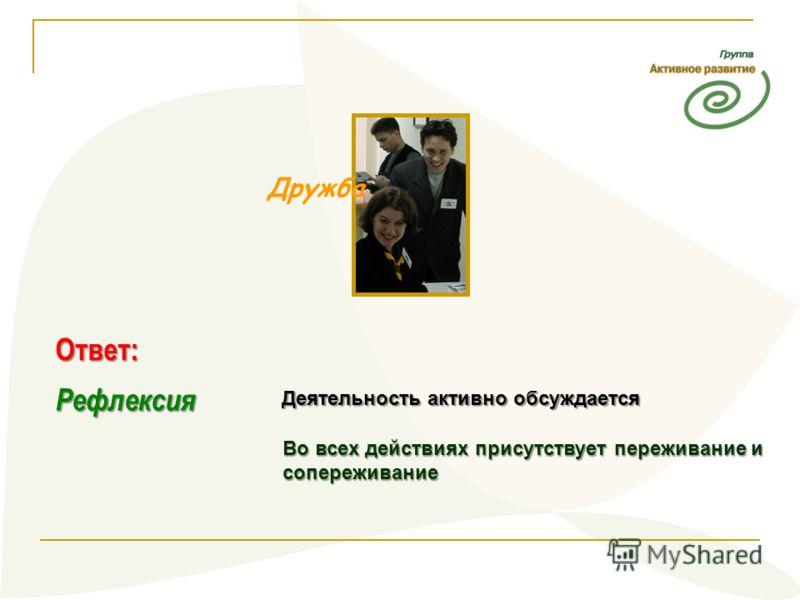 Дружба Рефлексия Деятельность активно обсуждается Во всех действиях присутствует переживание и сопереживание Ответ: