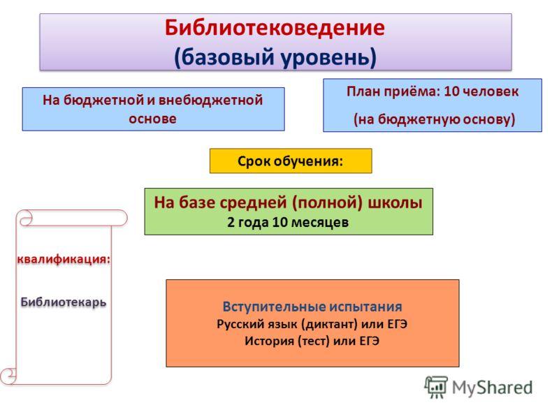 Библиотековедение (базовый уровень) Библиотековедение (базовый уровень) На бюджетной и внебюджетной основе Срок обучения: На базе средней (полной) школы 2 года 10 месяцев Вступительные испытания Русский язык (диктант) или ЕГЭ История (тест) или ЕГЭ к