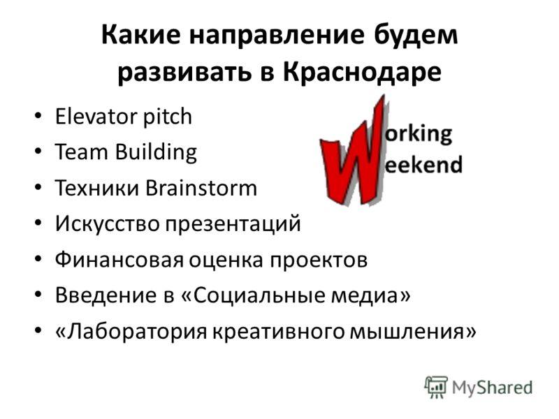 Какие направление будем развивать в Краснодаре Elevator pitch Team Building Техники Brainstorm Искусство презентаций Финансовая оценка проектов Введение в «Социальные медиа» «Лаборатория креативного мышления»