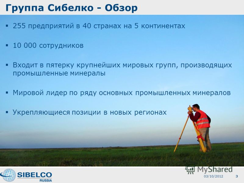 3 Группа Сибелко - Обзор 255 предприятий в 40 странах на 5 континентах 10 000 сотрудников Входит в пятерку крупнейших мировых групп, производящих промышленные минералы Мировой лидер по ряду основных промышленных минералов Укрепляющиеся позиции в новы