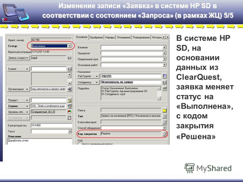 Изменение записи «Заявка» в системе HP SD в соответствии с состоянием «Запроса» (в рамках ЖЦ) 5/5 В системе HP SD, на основании данных из ClearQuest, заявка меняет статус на «Выполнена», с кодом закрытия «Решена»