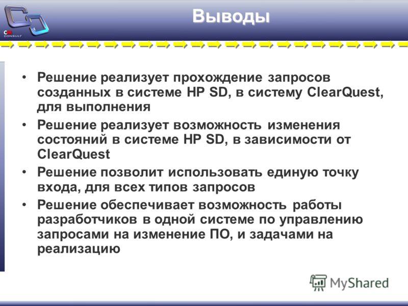 Выводы Решение реализует прохождение запросов созданных в системе HP SD, в систему ClearQuest, для выполнения Решение реализует возможность изменения состояний в системе HP SD, в зависимости от ClearQuest Решение позволит использовать единую точку вх